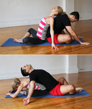 Partner Bound Angle Sit Back To Touch Soles Of Feet Together And Let Knees Fall Apart Or Cross Legs Take A Few Breaths With Spines Upright