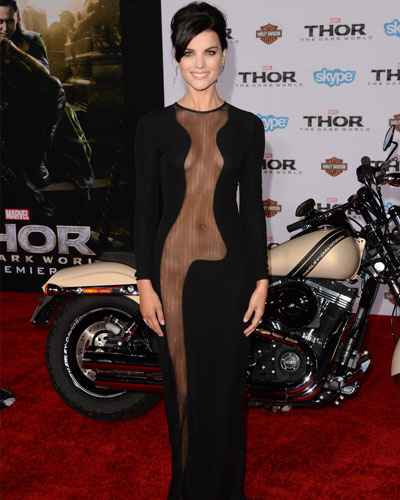Jaimie Alexander Made Waves At The 2013 Thor Dark World Premiere In This Ultra Revealing Azzaro Couture Dress And Admitted That Racy Number