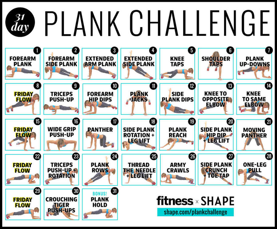 Soft image throughout printable 30 day plank challenge