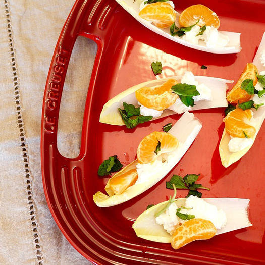 Easy vegetarian party appetizer ideas shape magazine endive with goat cheese mandarin orange and mint forumfinder Gallery