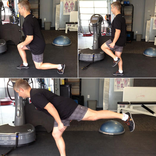 Forward lunge to single-leg deadlift inner thighs exercise