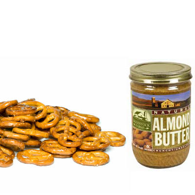 Healthy Snack Pretzels With Almond Butter