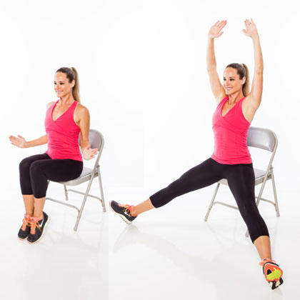 woman doing seated jumping jacks