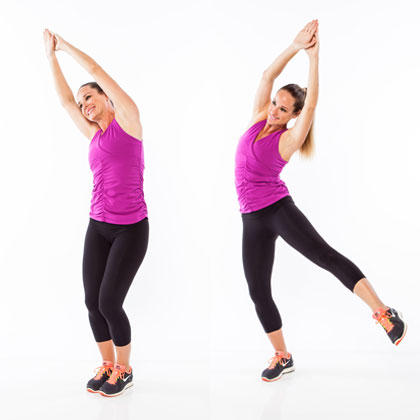 leaning lifting crunch standing abs exercise