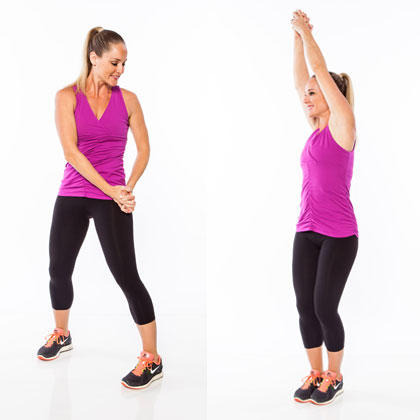 stepping chop standing abs exercise