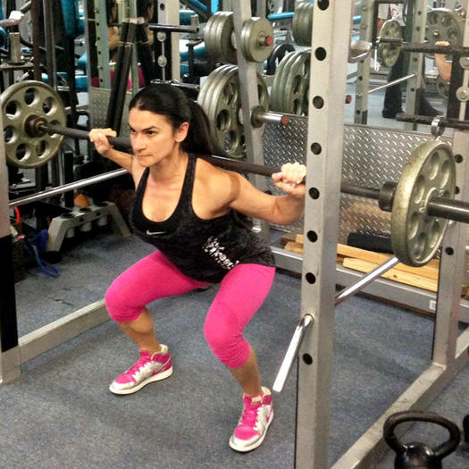Barbell squat inner thighs exercise