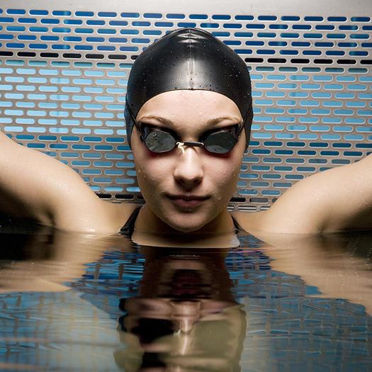 Girl in swim cap has sex