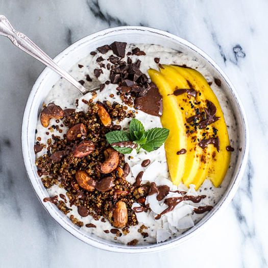 Healthy breakfast 10 easy recipes for breakfast bowls shape magazine coconut banana oats with crunchy black sesame quinoa cereal and mango ccuart Choice Image