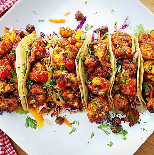 cauliflower and chickpea tacos high protein vegan meal idea