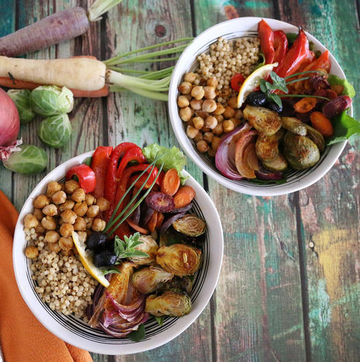 high protein vegan meal Moroccan Chickpea and Sorghum Bowl