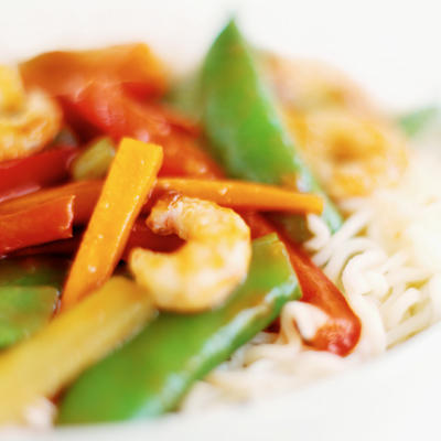 Healthy chinese food szechuan shrimp