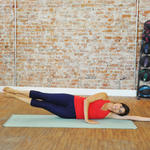 Side-lying double leg lifts inner thighs exercise