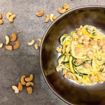 "Zoodles with Garbanzo Beans and Cashew ""Cream"" Sauce vegan meal idea"