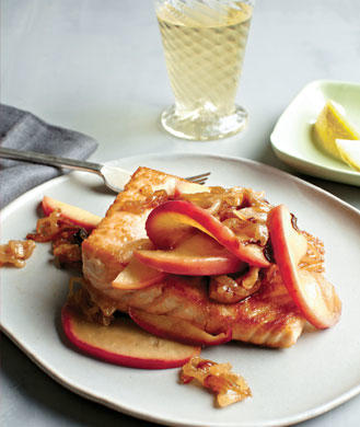Seared Salmon with Caramelized Apples and Onions