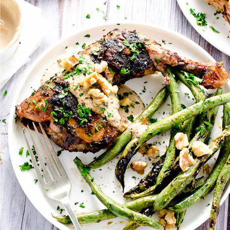 easy chicken keto recipe with beans and walnut sauce